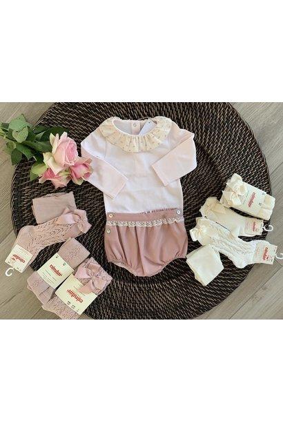 Roze body met plumeti kraagje