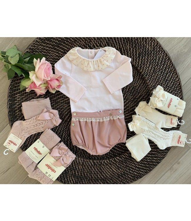 PURETE DU BEBE Pink bodysuit with plumeti collar