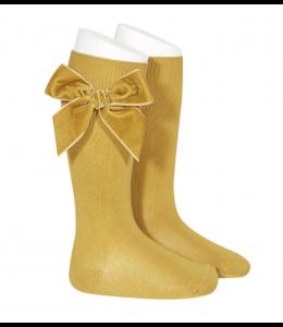 CONDOR  Knee socks with velvet bow OCHER