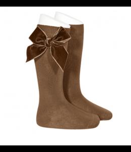 CONDOR  Knee socks with velvet Brown