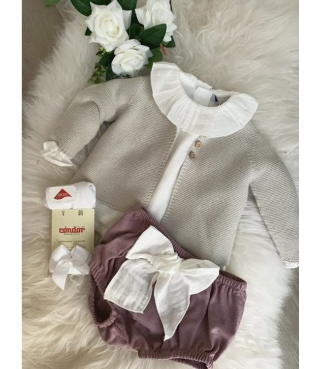 BABIDU BABIDU | Grijze cardigan met houten knopen