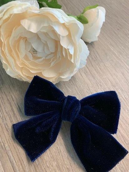 Helena's Bowtique | Velvet strik NAVY BLUE-1