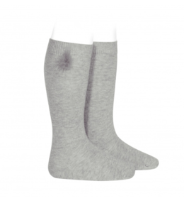 CONDOR  Knee socks with pompon light gray