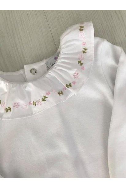 Witte body met roze en groene motiefje