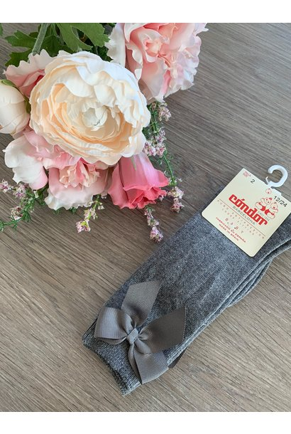 Knee socks with bow DARK GRAY