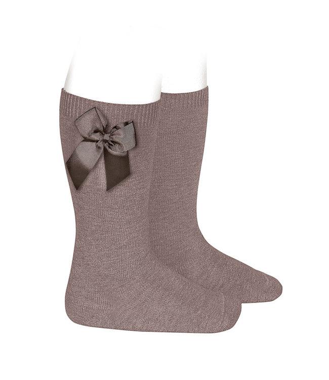 CONDOR  CONDOR |  Knee socks with bow Praline