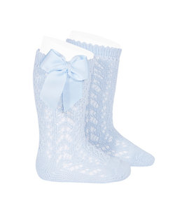 CONDOR  Knitted knee socks  with bow Baby Blue