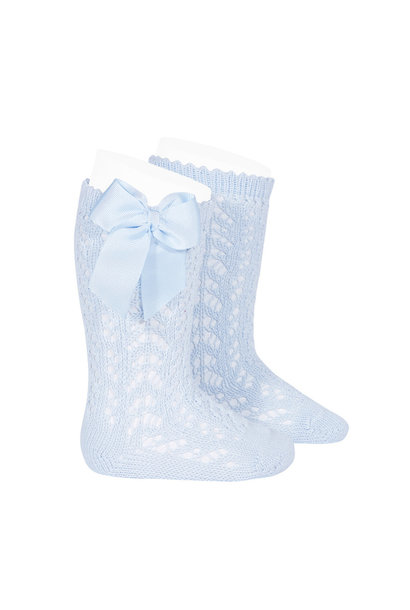 Knitted knee socks  with bow Baby Blue