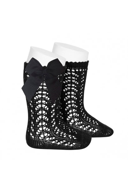 Open woven knee socks with bow Black