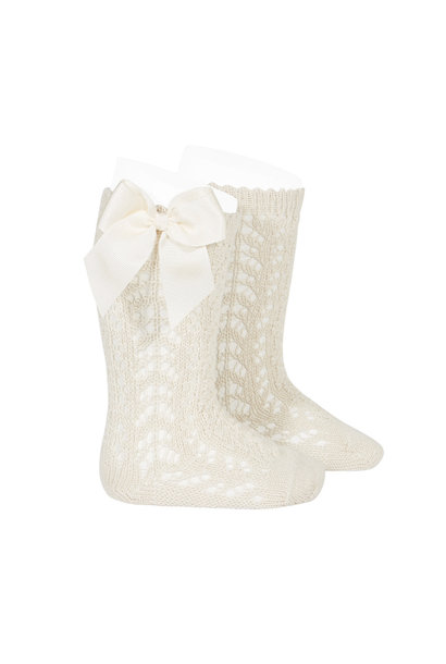 Open woven knee socks with bow Linen