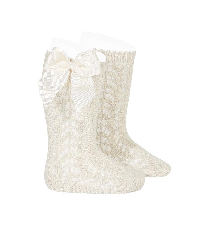 CONDOR  CONDOR | Open woven knee socks with bow Linen