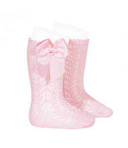 CONDOR  Open woven knee socks with bow Pink