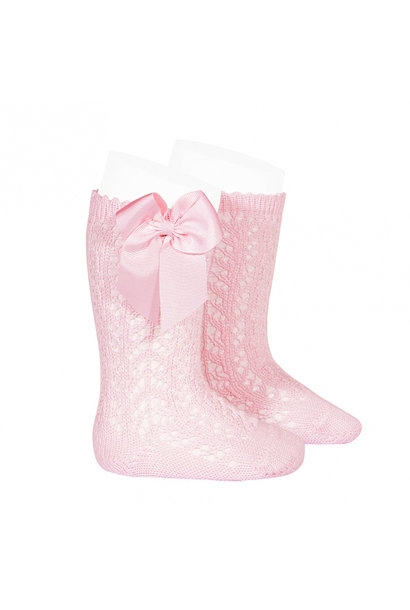 Open woven knee socks with bow Pink