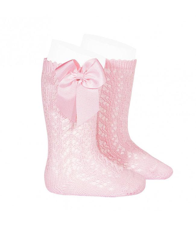 CONDOR  CONDOR   Open woven knee socks with bow Pink