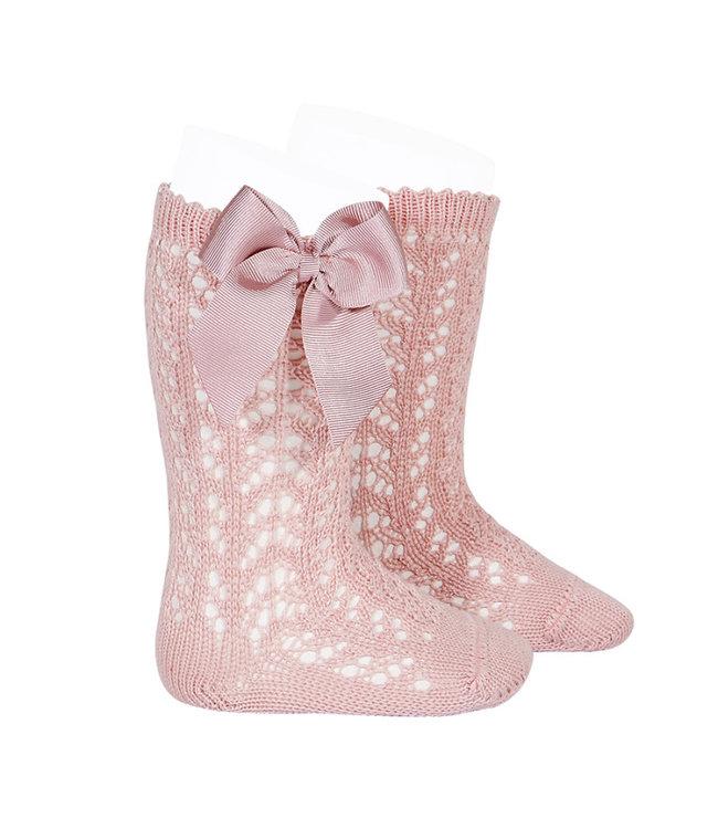 CONDOR  CONDOR | Open woven knee socks with bow Rosa Palo