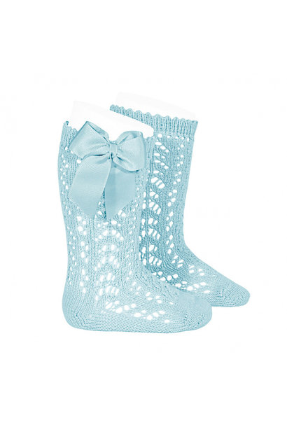 Open weave knee socks with bow Mint