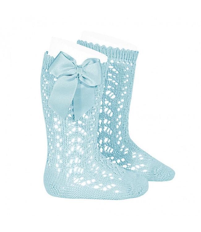 CONDOR  CONDOR | Open weave knee socks with bow Mint