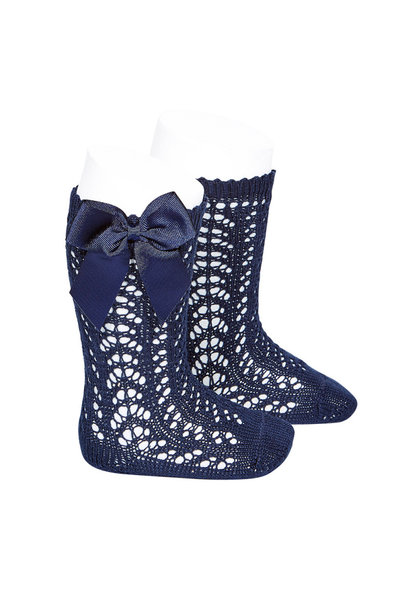Open woven knee socks with navy blue bow