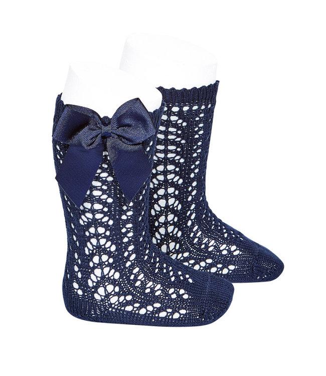 CONDOR  CONDOR | Open woven knee socks with navy blue bow