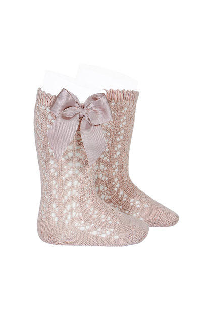 Open woven knee socks with bow Old pink