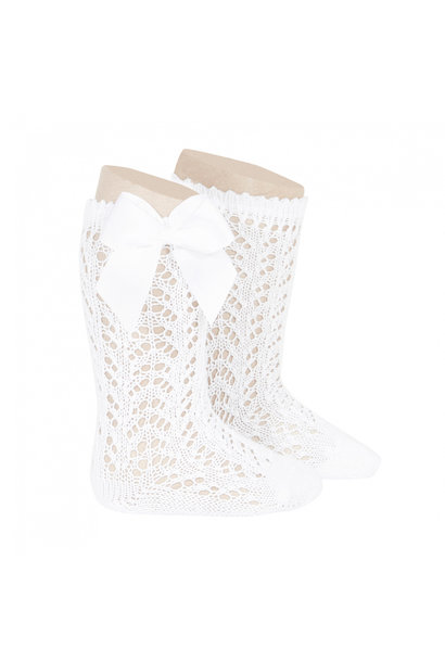 Open woven knee socks with bow White