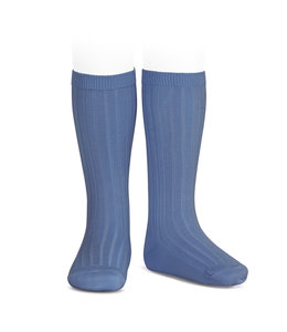 CONDOR  Knee socks with ribbed high blue