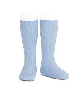 CONDOR  Blue ribbed knee socks