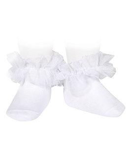 CONDOR  Ankle socks with tulle WHITE