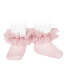 CONDOR  Ankle socks with tulle PINK