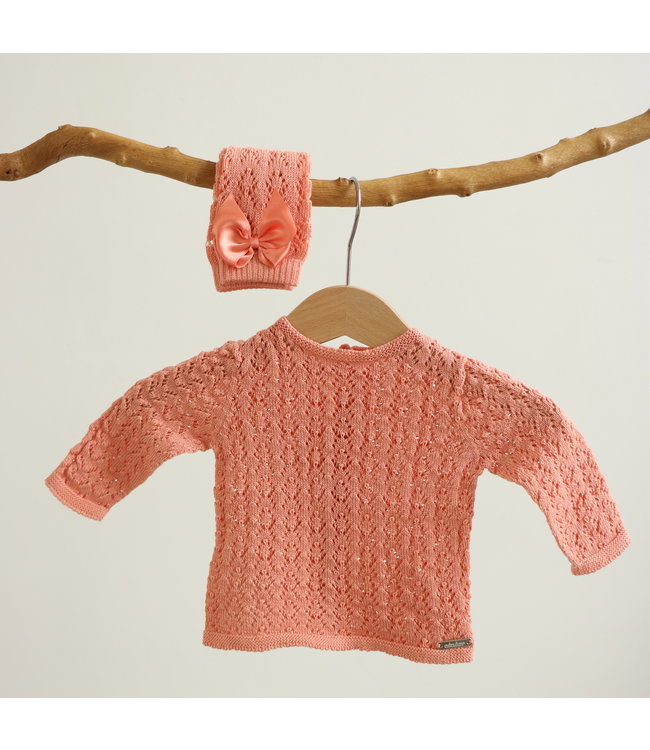 CONDOR  Openwork cardigan with buttons at the back PEACH