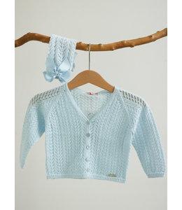 CONDOR  Opengewerkte babyblauw cardigan