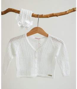 CONDOR  Opengewerkte witte cardigan