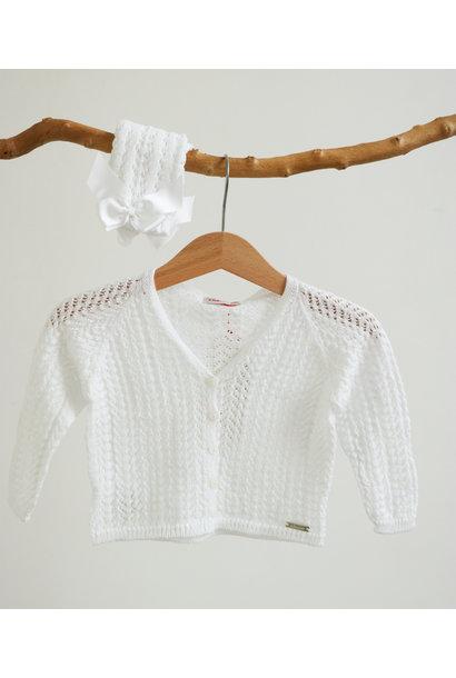 Opengewerkte witte cardigan