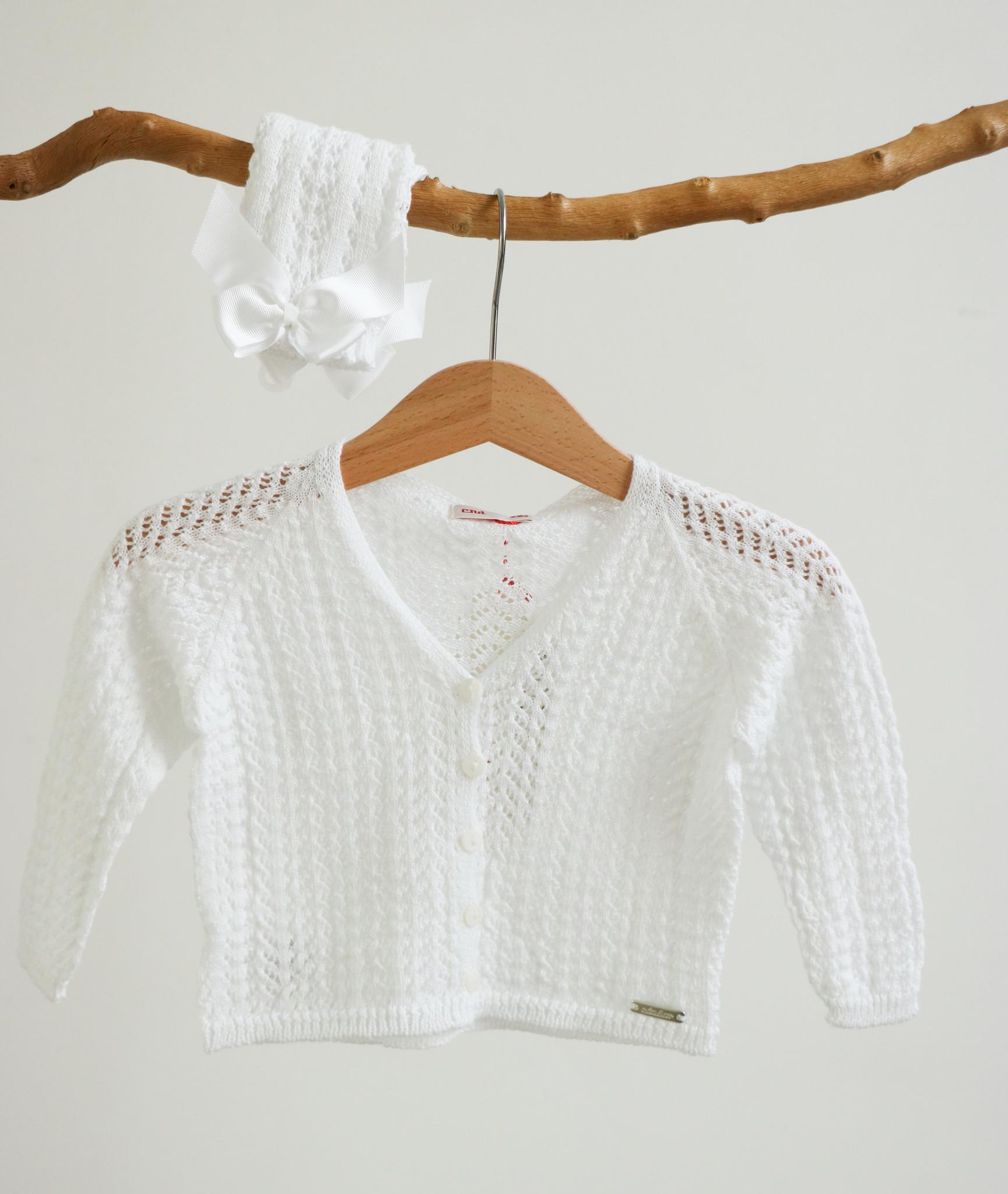 Opengewerkte witte cardigan-1