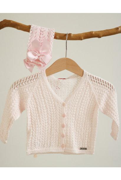 Opengewerkte roze cardigan