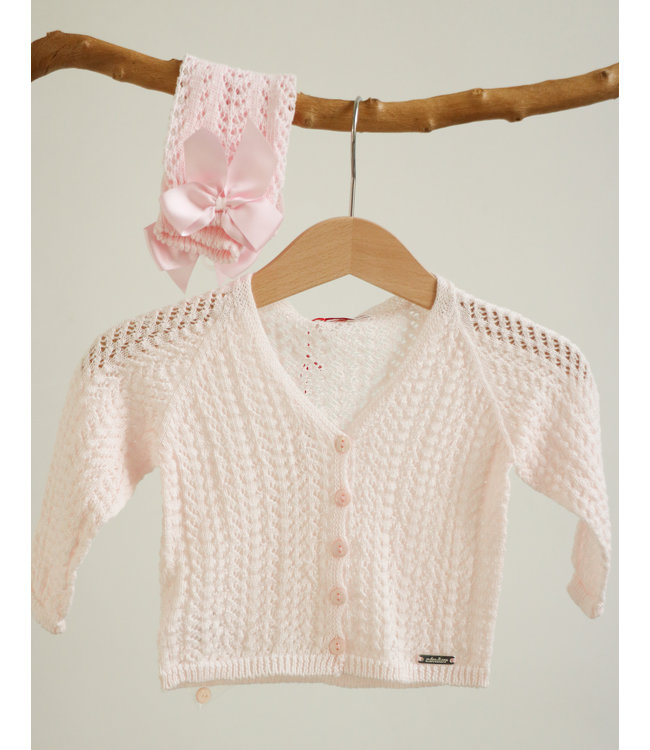 CONDOR  Opengewerkte roze cardigan