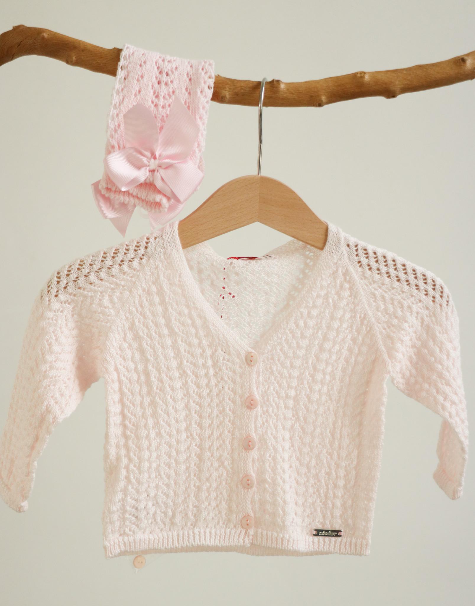 Opengewerkte roze cardigan-1