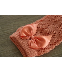 CONDOR  Open weave knee socks with satin bow PEACH