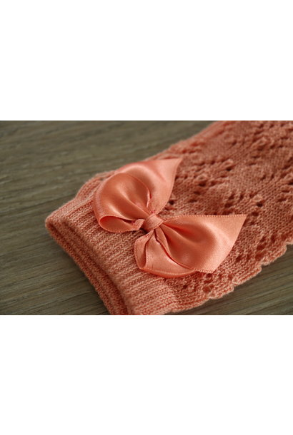 Open weave knee socks with satin bow PEACH