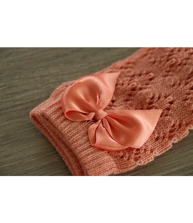 CONDOR  CONDOR | Open weave knee socks with satin bow PEACH