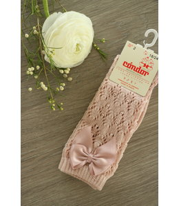 CONDOR  Open woven knee highs with satin bow OLD PINK