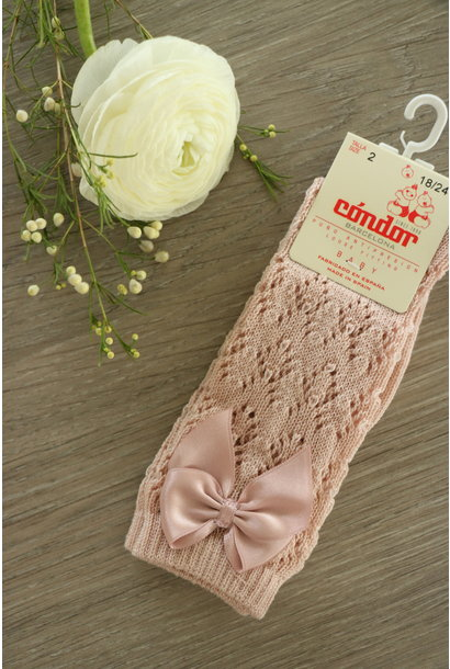Open woven knee highs with satin bow OLD PINK