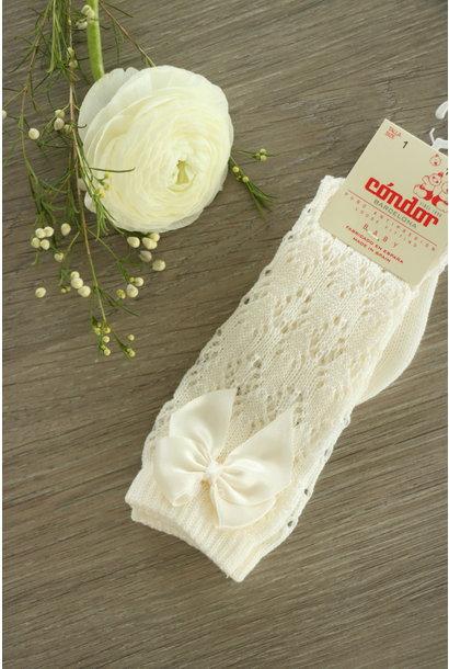 Open woven knee socks with satin bow CAVA