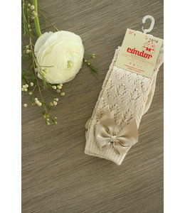 CONDOR  Open woven knee highs with satin bow LINEN