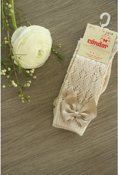 Open woven knee highs with satin bow LINEN