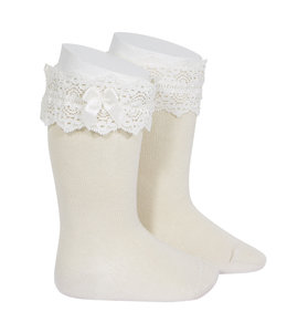 CONDOR  Knee highs with lace top LINEN