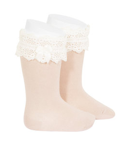CONDOR  Knee highs with lace trim NUDE