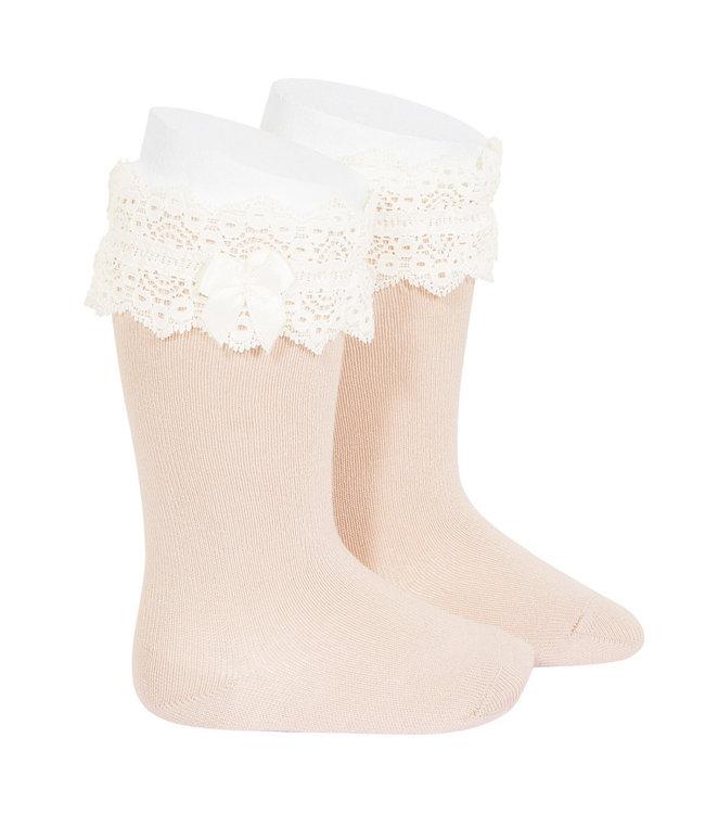 CONDOR  CONDOR | Knee highs with lace trim NUDE