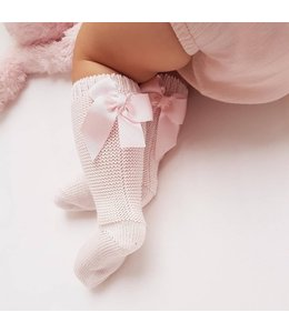 CONDOR  Light knitted knee socks with bow at the back PINK