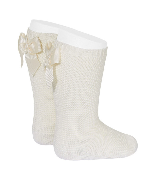 CONDOR  CONDOR   Light knitted knee socks with bow at the back CAVA